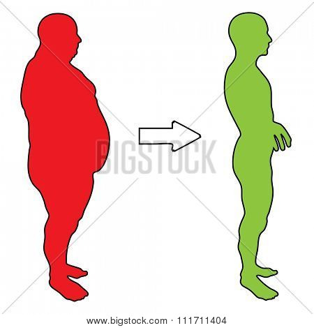 Concept 3D fat overweight vs slim fit diet with muscles young man silhouette isolated on white background for weight loss, body, fitness, fatness, obesity, health, healthy, male, dieting or shape