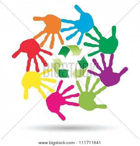 Concept or conceptual circle or spiral of colorful hand prints made by children with a green recycle symbol isolated on white background, for ecology, education, environment, eco, global nature