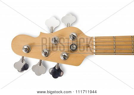 Red Bass Guitar Isolated Against White Background