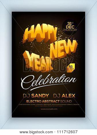 Elegant shiny Flyer, Banner or Pamphlet for New Year's 2016 Eve Party celebration.