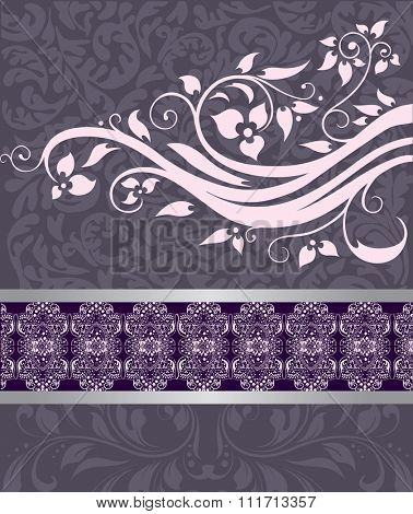 Vintage invitation card with ornate elegant retro abstract floral design, pale pink and grayish violet flowers and leaves on pale violet background with ribbon and text label. Vector illustration.