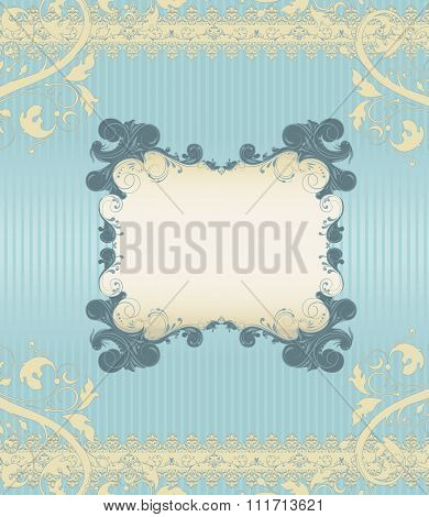 Vintage invitation card with ornate elegant retro abstract floral design, dark teal and pale yellow flowers and leaves on light blue background with frame text label. Vector illustration.