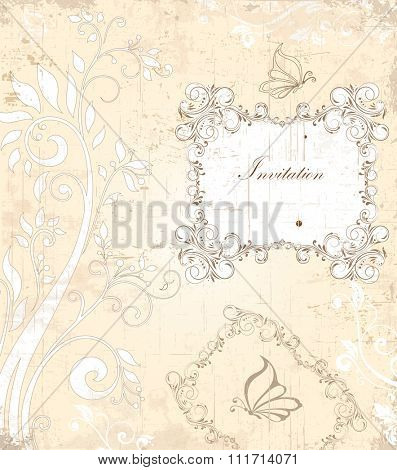 Vintage invitation card with ornate elegant retro abstract floral design, grayish brown flowers and leaves on scratch texture faded beige background. Vector illustration.