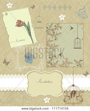 Vintage invitation card with ornate elegant retro abstract floral design, multicolored flowers and leaves on beige background with birds and butterflies and text label. Vector illustration.