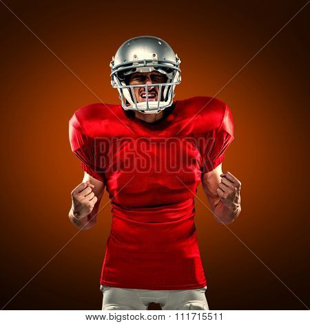 Irritated American football player in red jersey screaming against orange background with vignette