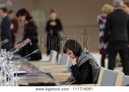 ST. PETERSBURG, RUSSIA - DECEMBER 13, 2015: Elena Belova from Nizhny Novgorod State Center of Contemporary Art before the round table discussion during 4th St. Petersburg International Cultural Forum