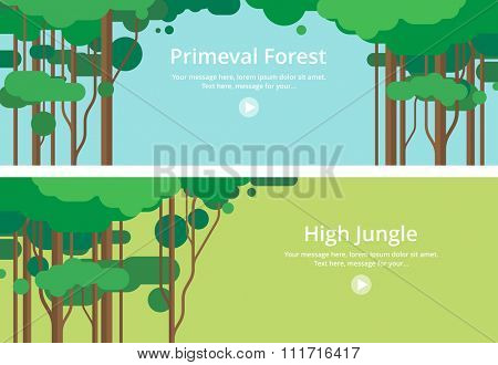 Two horizontal banners. Virgin forest, Jungle