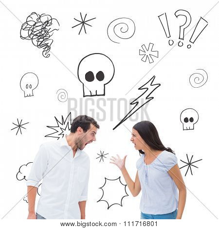 Angry couple shouting at each other against swearing doodles