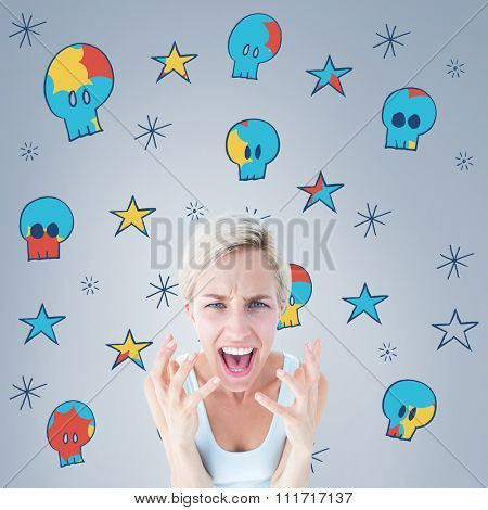 Upset woman yelling with hands up against grey vignette