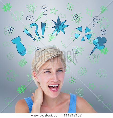 Woman screaming and suffering from neck pain against grey vignette