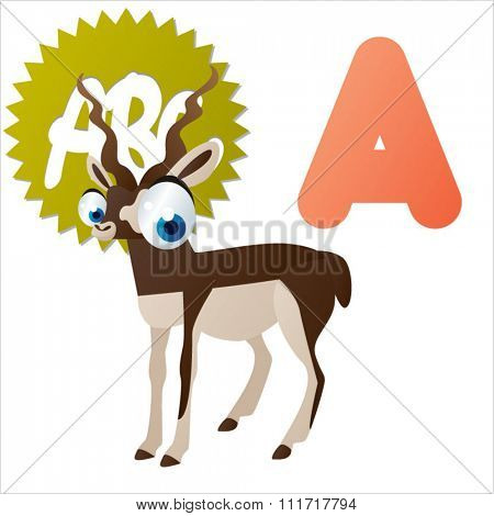 vector cartoon comic illustration for animal funny alphabet. Badges, stickers or logos or icons designs with animals. A is for Antelope
