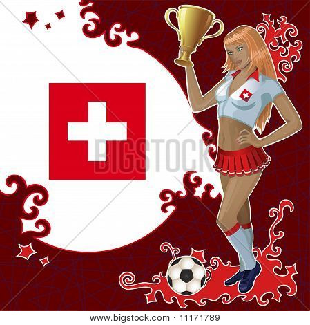 Vector Football Poster With Girl And Swiss Flag