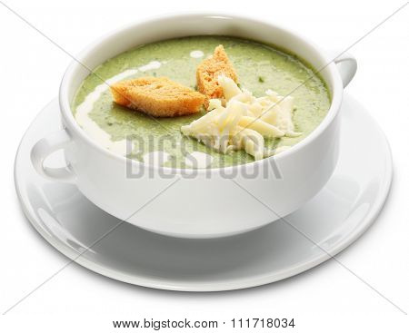 Cream soup of broccoli and cheese. File contains clipping paths.