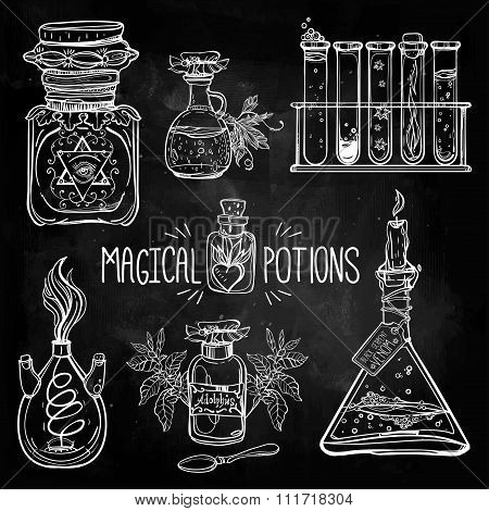 Set of beautiful ornate potion bottles.