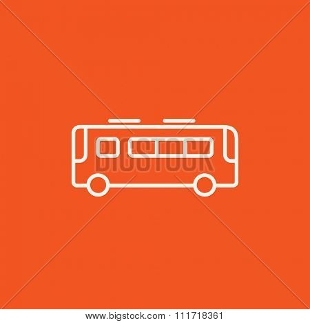 Bus line icon for web, mobile and infographics. Vector white icon isolated on red background.