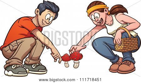 Young couple picking up mushrooms. Vector clip art illustration with simple gradients. Each element on a separate layer.