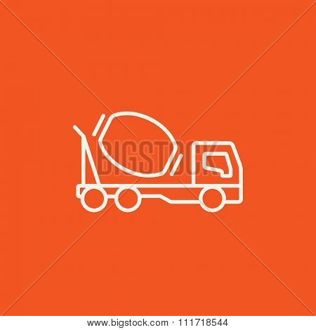 Concrete mixer truck line icon for web, mobile and infographics. Vector white icon isolated on red background.