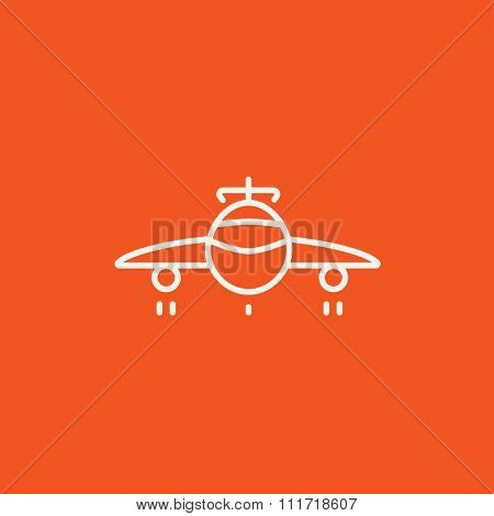 Airplane line icon for web, mobile and infographics. Vector white icon isolated on red background.
