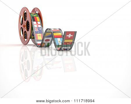 render of classic cinema film roll with flags