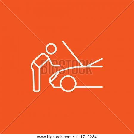 Man fixing car line icon for web, mobile and infographics. Vector white icon isolated on red background.