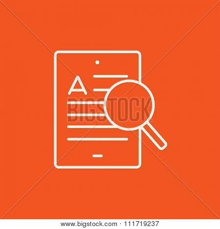 Tablet and magnifying glass line icon for web, mobile and infographics. Vector white icon isolated on red background.