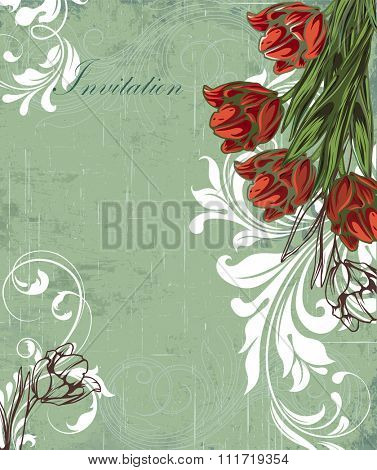 Vintage invitation card with ornate elegant retro abstract floral design, red white and brown flowers and green leaves on scratch textured laurel green background. Vector illustration.