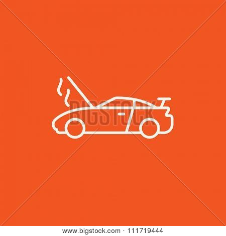 Broken car with open hood line icon for web, mobile and infographics. Vector white icon isolated on red background.