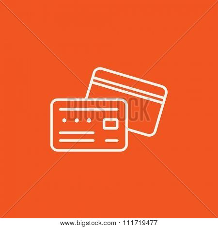 Credit card line icon for web, mobile and infographics. Vector white icon isolated on red background.