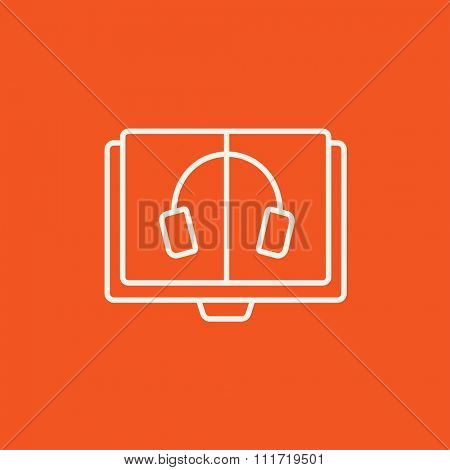 Audiobook line icon for web, mobile and infographics. Vector white icon isolated on red background.