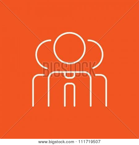 Group of businessmen line icon for web, mobile and infographics. Vector white icon isolated on red background.