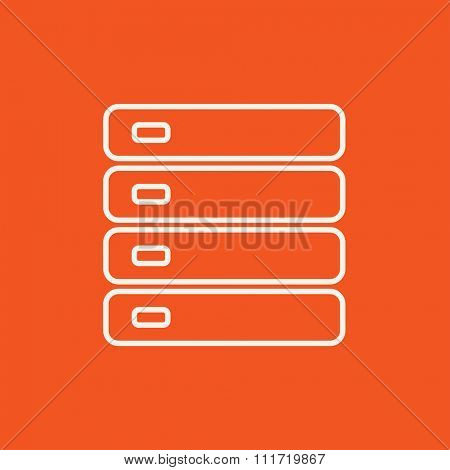 Computer server line icon for web, mobile and infographics. Vector white icon isolated on red background.