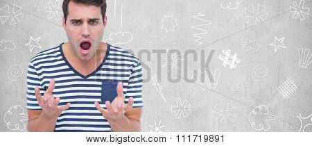 Astonished man gesturing over white background against white background
