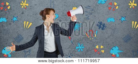 Businesswoman with loudspeaker against dirty old wall background