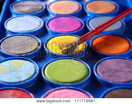 Pallette of water colors