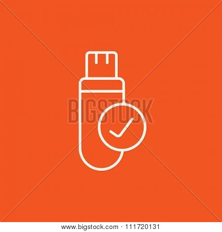 USB flash drive line icon for web, mobile and infographics. Vector white icon isolated on red background.