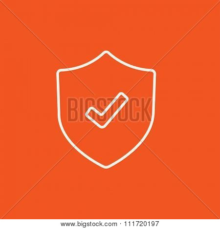 Shield with check mark line icon for web, mobile and infographics. Vector white icon isolated on red background.