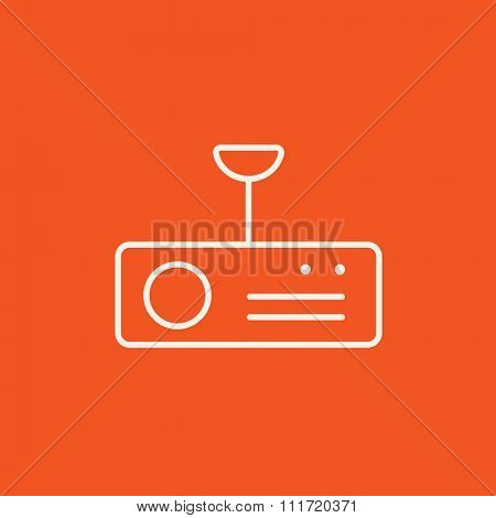 Digital projector line icon for web, mobile and infographics. Vector white icon isolated on red background.