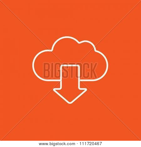 Cloud with arrow down line icon for web, mobile and infographics. Vector white icon isolated on red background.