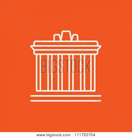 Acropolis of Athens line icon for web, mobile and infographics. Vector white icon isolated on red background.