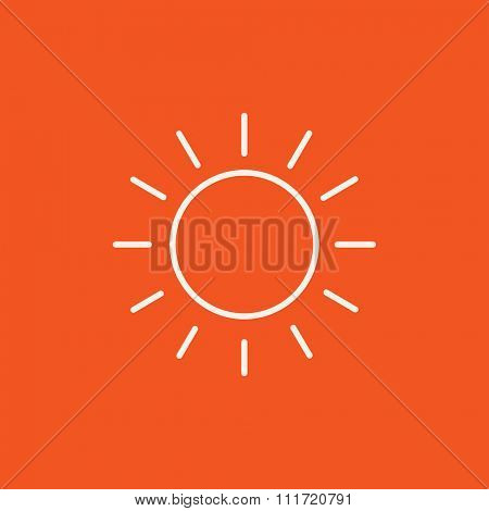 Sun line icon for web, mobile and infographics. Vector white icon isolated on red background.