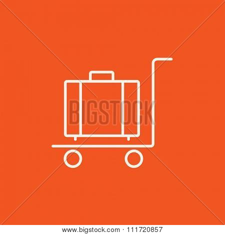 Luggage on a trolley line icon for web, mobile and infographics. Vector white icon isolated on red background.