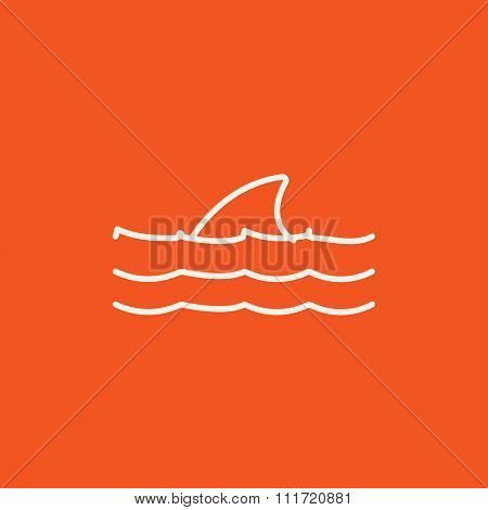 Dorsal shark fin above water line icon for web, mobile and infographics. Vector white icon isolated on red background.