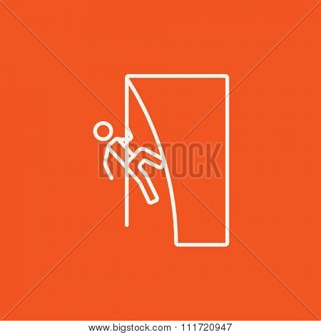 Rock climber climbing an overhanging cliff line icon for web, mobile and infographics. Vector white icon isolated on red background.