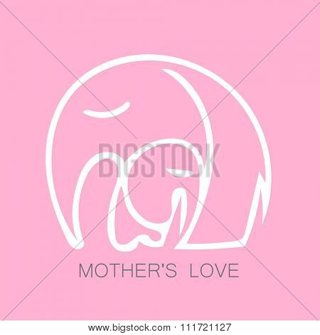 Mom's love - logo design. Vector illustration. Mother elephant hugging his baby. The idea for the sign for the kindergarten, school, club, baby products and others.