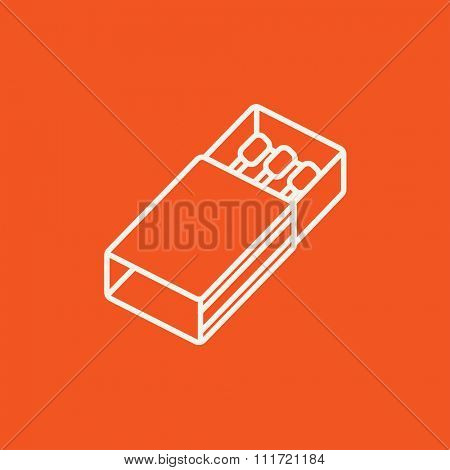 Matchbox line icon for web, mobile and infographics. Vector white icon isolated on red background.