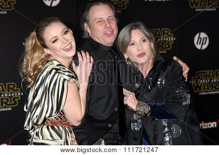 LOS ANGELES - DEC 14:  Billie Lourd, Todd Fisher, Carrie Fisher at the Star Wars: The Force Awakens World Premiere at the Hollywood & Highland on December 14, 2015 in Los Angeles, CA