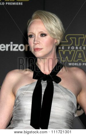 LOS ANGELES - DEC 14:  Gwendoline Christie at the Star Wars: The Force Awakens World Premiere at the Hollywood & Highland on December 14, 2015 in Los Angeles, CA