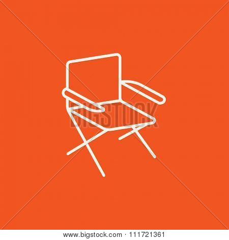 Folding chair line icon for web, mobile and infographics. Vector white icon isolated on red background.