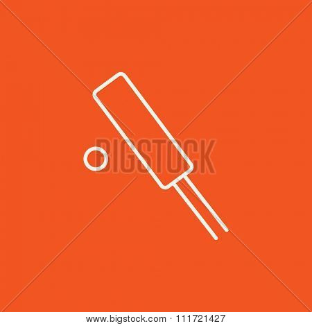 Cricket line icon for web, mobile and infographics. Vector white icon isolated on red background.