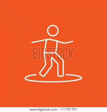Male surfer riding on surfboard line icon for web, mobile and infographics. Vector white icon isolated on red background.